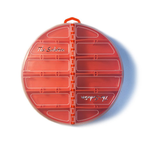 The Solution Round Tackle Box Blaze Orange Closed