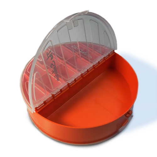 The Solution Round Tackle Box Blaze Orange Open